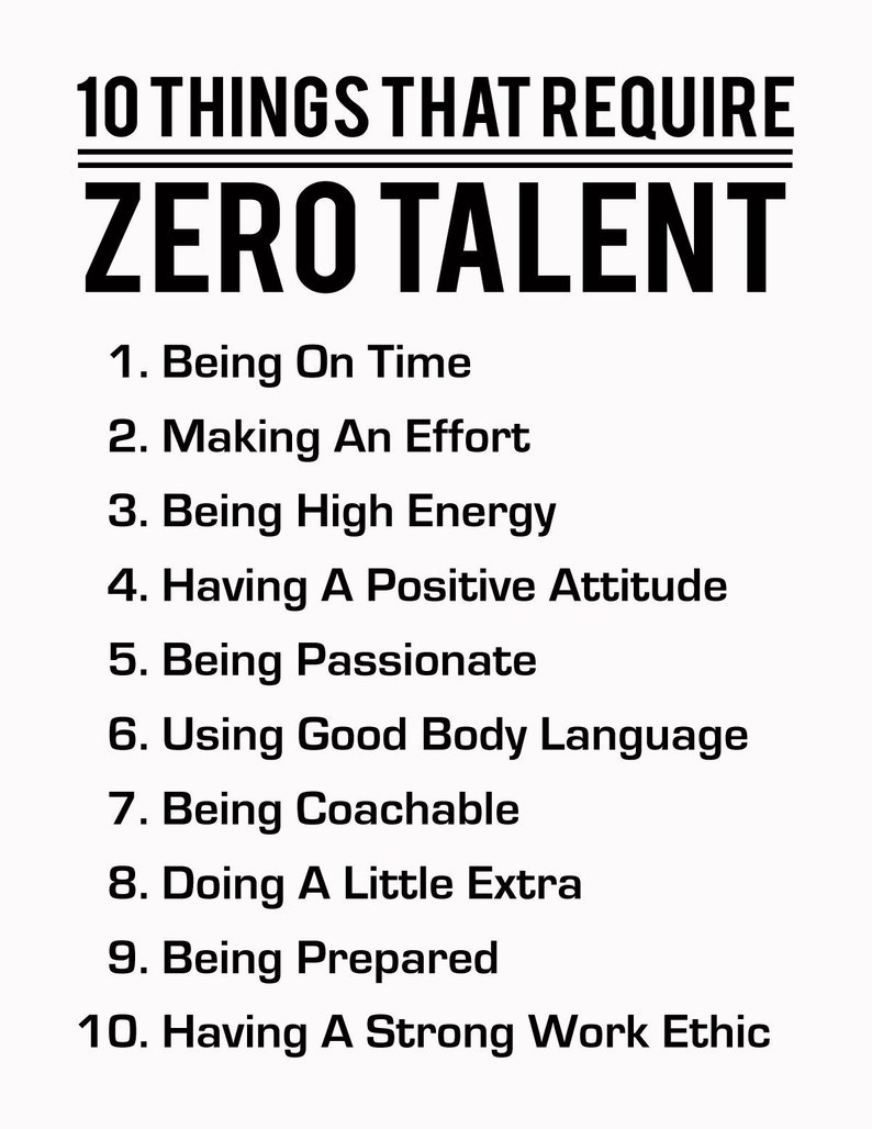 image regarding 10 Things That Require Zero Talent Printable known as 10 Components That Will need Zero Ability, Black Upon White, Inspirational Print, Motivational Poster, Typography Artwork, Results Suggestions, Numbered Listing