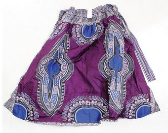 Africa Traditional Print Elastic Skirt - Purple