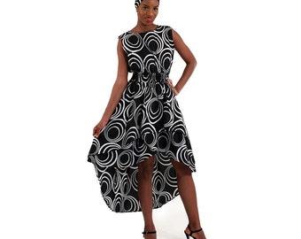 Hi-Lo Tier Dress: Black & White