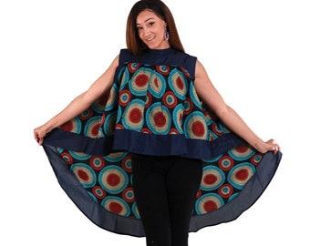 Africa Traditional  HiLo Ruffle Dress: Denim & Circle Print