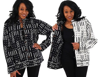 Black & White Reversible MudPrint Jacket -Plus Size