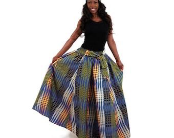 Blue Cosmic Print Long Skirt