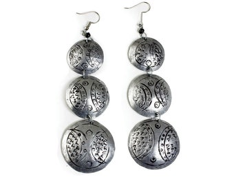 Handmade Triple Silver Earrings
