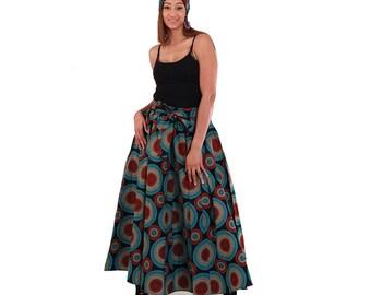 Black Maxi Skirt: Red/Blue Circles