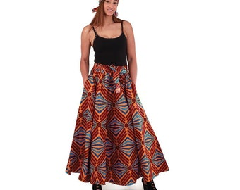 Africa Orange/Brown Retro Maxi Skirt