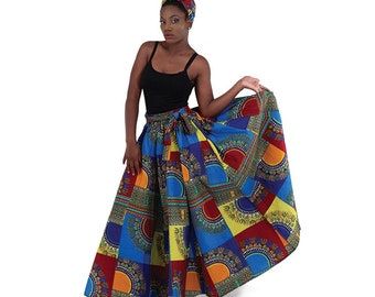 Africa  Traditional Patch-Print Maxi Skirt Style #2