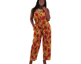 Africa Traditional  Orange/Red Sleeveless Jumpsuit