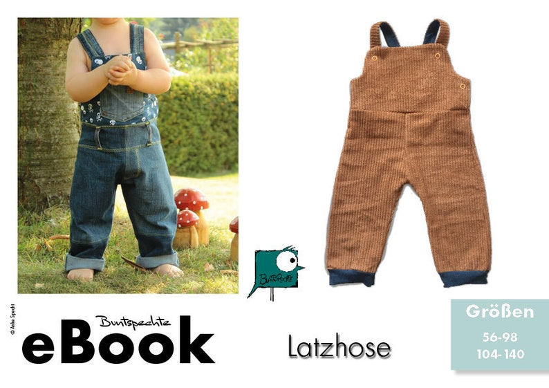Sewing pattern eBook rompler dungarees  image 0