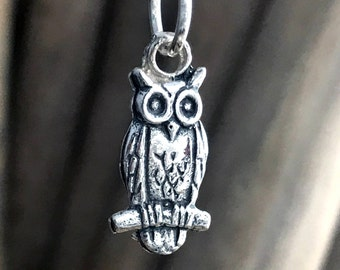 Owl Necklace, Silver Owl Pendant Necklace, Wildlife Jewellry, Gift for her ANM028