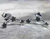 Sterling Silver Star Ear Climber, Star ear crawlers, ear climber earrings, three star studs, star earrings, triple star studs CRS127