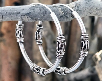 Sterling Silver Hoop Earrings gifts for her 0.07 30mm 1.18 Bali Earrings HGP141 Bali Hoop Earrings,Hand Made Hoops x 2mm