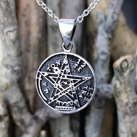 925 Sterling Silver Tetragrammaton Pentagram Pentacle Pendant Necklace Wiccan Pentacle Pendant Spiritual Jewelry Pagan CLT108