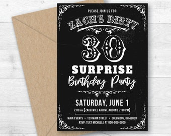 Dirty 30 Thirty Thirtieth Birthday Surprise Party Invitation Years Printable Digital Invite