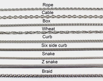 Stainless steel chain, cable chain, wheat chain, rope chain, box chain, curb chain, snake chain, necklace chain for men, necklace for women