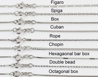 Sterling silver necklace chain, chain necklace, silver necklace for women, silver chain for men, Rope, Figaro, Box chain, Spiga, Cuban chain