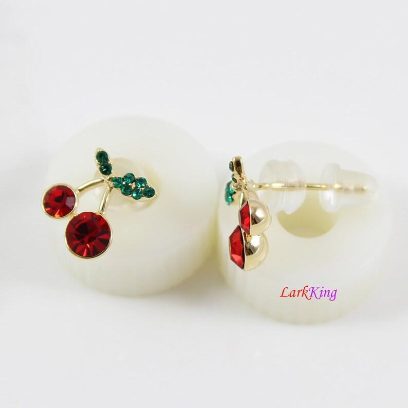 LK15008 earrings for women,round CZ earrings cherry stud earrings Ruby CZ cherry stud earrings 14 K gold filled sterling silver earrings
