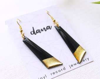 gold dipped earrings vinyl record jewellery boho chic earrings spring earrings black and gold earrings minimalist earrings mixed media