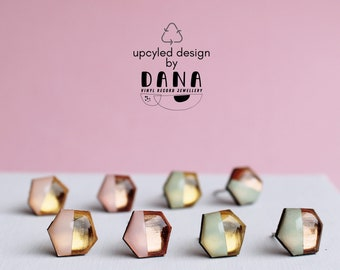 upcycled small geometric mint and gold studs pink and rose gold studs small dainty everyday handmade in Ireland modern recycled jewelry