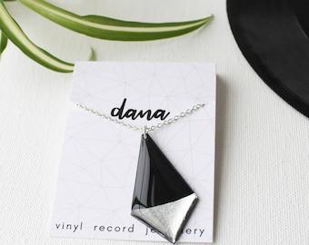 statement necklace long necklace geometric necklace silver necklace geometric jewelry gift for her vinyl record jewelry minimalist jewelry
