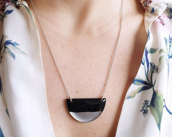casual chic recycled vinyl record semicircle necklace sustainable upcycled jewelry stylish black and silver necklace ethical gift for her