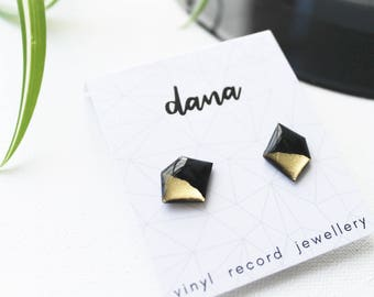 minimal gold studs vinyl studs modern geometric stud earrings gold dipped studs eco-friendly christmas gift for her recycled studs earrings