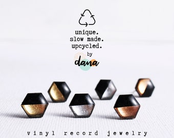 eco conscious recycled plastic metallic stud earrings handmade from vinyl record - eco resin gold studs - sustainable gift for her