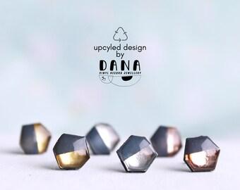 upcycled small geometric studs blue gray metallic studs gold studs silver studs copper rose gold studs modern minimalist ear posts vinyl