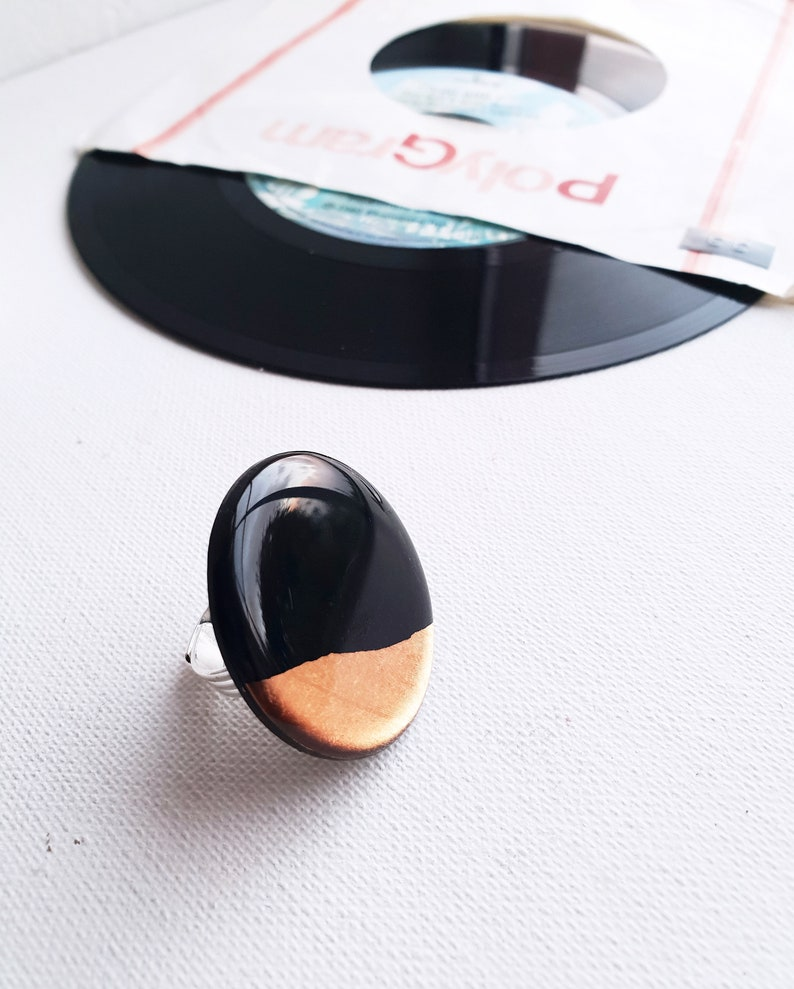 black and copper ring large geometric ring color block statement ring unique gift idea for her adjustable ring cocktail ring resin ring