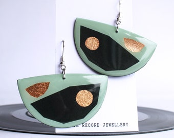 upcycled retro green one of a kind art earrings bold vinyl record earrings sustainably made ethical sustainable jewelry made in ireland