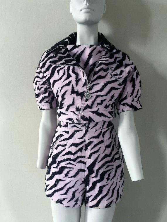 Vintage Retro Hot Pink Zebra Print Two-Piece Light