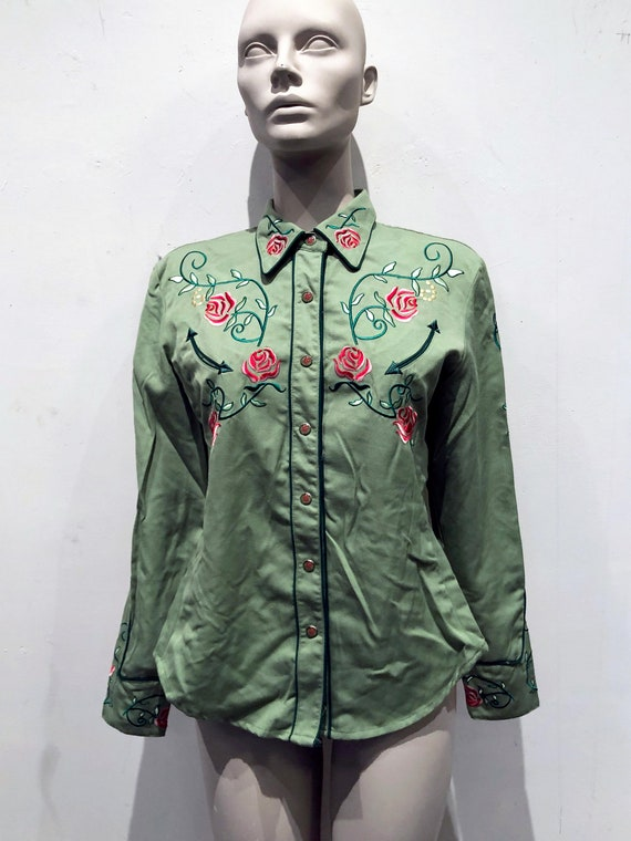 Scully Embroidered Red Roses, Green Western 1950s