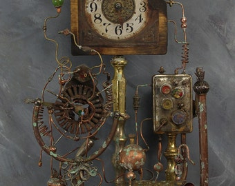 Time Machine of Captain Mortimus B. Bland. The Steam Powered Clock with Time Machine with Dimensional Travel Additions, Steampunk Sculpture