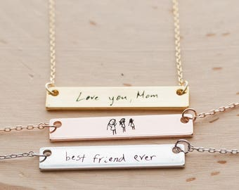 Custom Handwriting Necklace Personalized Handwriting Jewelry mom gift Signature Necklace