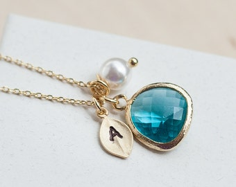 December Birthstone Necklace, Blue Necklace, Gold Leaf with Initial, Jewel, Pearl, Gold Birthstone Jewelry, Blue Zircon Necklace /342