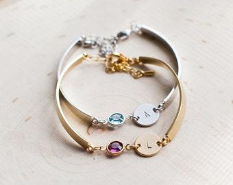 BRACELET  gold silver birthstone personalized bracelet  initial letter birth stone birthday gift gold bracelet jewelry / 031