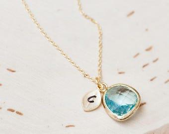 March Birthstone Necklace, Initial Jewelry, Birthday Jewelry, Personalized Necklace, Aquamarine /342
