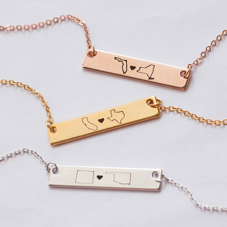 4e91b2243e5df Personalized Necklace Best Friend Gifts Long Distance Relationship State  Necklace Monogram Name Necklaces Friendship Gifts jewelry gift