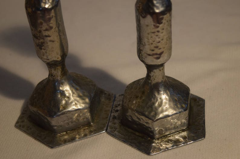 Candle Sticks A Pair of Rustic Hammered Silver Metal Nickel Pewter Colored Candle Holder