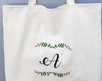 Personalized Canvas Bag, Floral Embroidery Tote Bag, Custom Monogram Beach Bag, Mother's Day Gift, Bridesmaid Gift