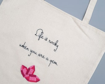 Tote Bag with Embroidered Inspirational Quote, Personalized Gift