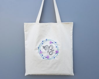Monogram Beach Bag, Tassel Tote Bag, Flower Embroidery Canvas Bag, Personalized Bridesmaid Gift