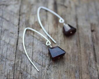 Sterling Silver Garnet Marquise Stone Earrings