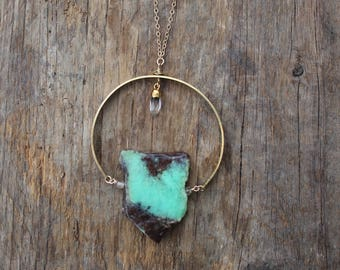 Chrysoprase and Brass Statement Necklace