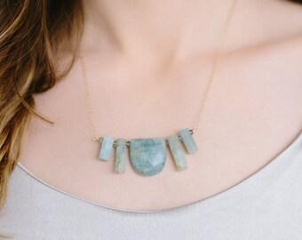 Aquamarine Balance Stone Statement Necklace
