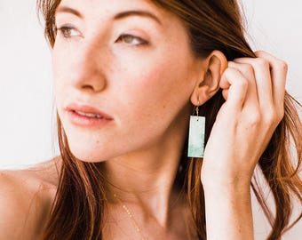 Green Turquoise Stone Earrings-Gold