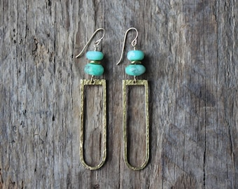 Chrysoprase and Hammered Brass Boho Statement Earrings