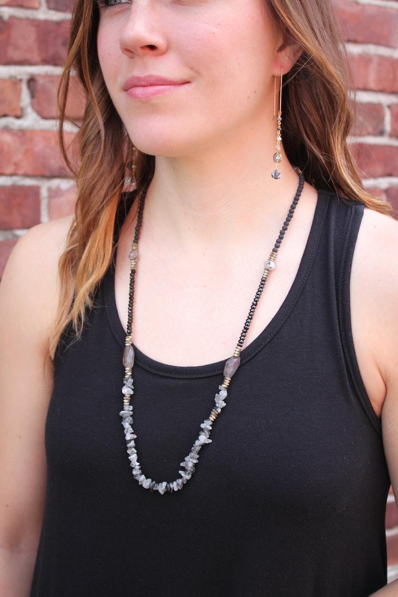 Long Black Rutilated Quartz Lava Rock and Herkimer Diamond Beaded Boho Necklace Black Spinel
