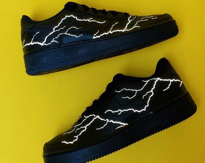 Reflective Lightning Nike Air Force 1 | Custom Air Force 1s One | 3m Reflective Lightning Sneaker | Custom AF1 | Reflective Shoes