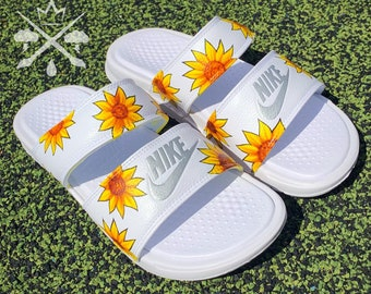 Sunflower Sandals | Womens Nike White Slides | Benassi Duo Ultra Slide | Summer Sandals | Women's Floral Sunflowers Spring Shoes