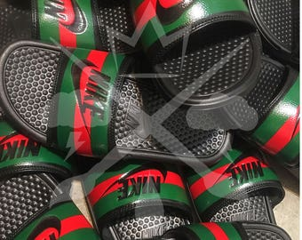 Nike Custom Benassi Swoosh Slides Sandals Flip flops